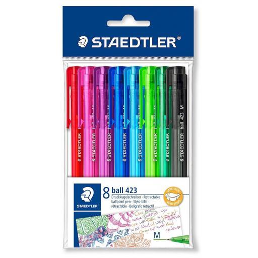 Staedtler Retractable Ballpoint Pen Medium - Asstd Colours, Pack of 8