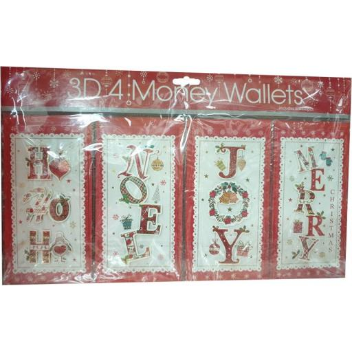 Tulip Christmas Money Wallets Contemporary - Pack of 4