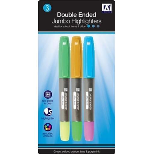 IGD Double Ended Jumbo Highlighter Pens - Pack of 3