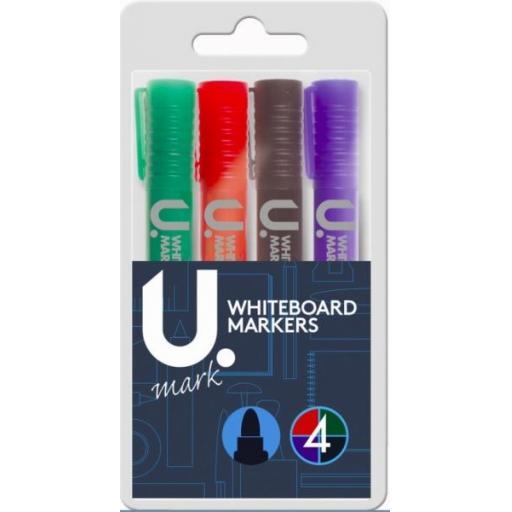 U. Bullet Tip Whiteboard Markers - Pack of 4