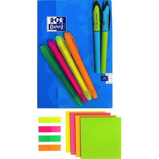 BG Highlight Set, Uni-Ball Air Micro Pens & Ruled Oxford A5 Notebook - Blue