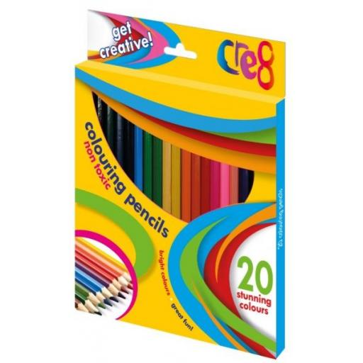 Cre8 Non-Toxic Colouring Pencils, Asst Colours - Pack of 20