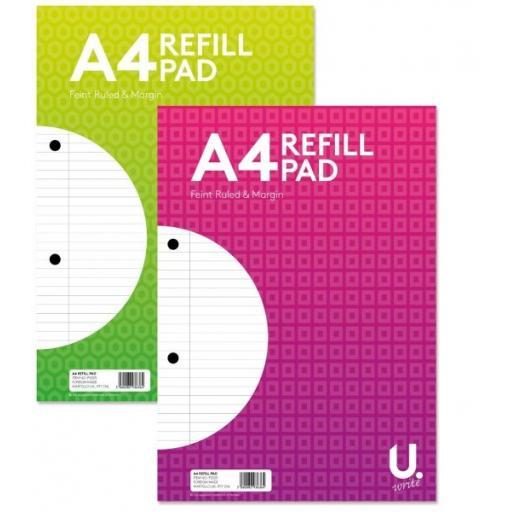 U. A4 Feint Ruled & Margin Refill Pad Pink or Green - 160pg