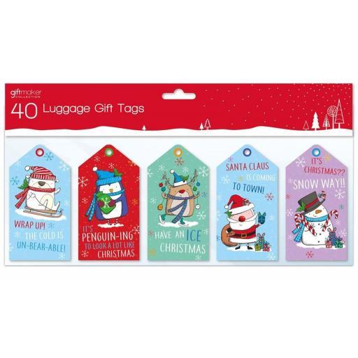 IGD Giftmaker Christmas Luggage Tags Kids - Pack of 40