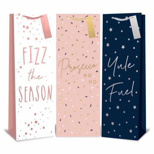 Tallon Christmas Bottle Bags Pastel Slogans - Pack of 12