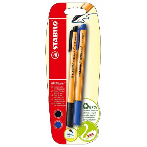 Stabilo GreenPoint Recycled Pens, Black & Blue - Pack of 2