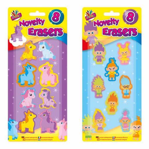 Artbox Pony & Troll Erasers - Pack of 8