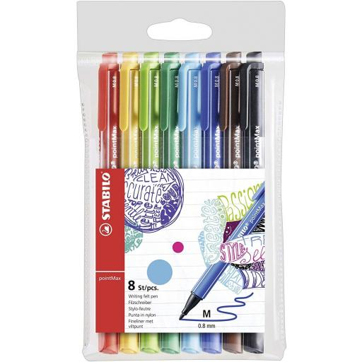 Stabilo PointMax Nylon Tip Felt Pens - Pack of 8