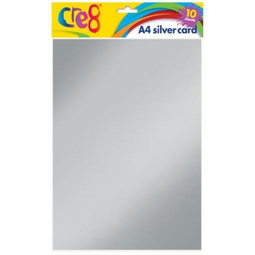 Cre8 A4 Silver Card - 10 Sheets