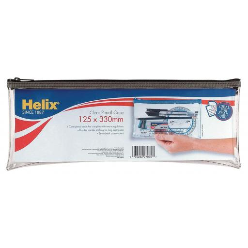 Helix Clear Pencil Case 125x330mm - Assorted Colours