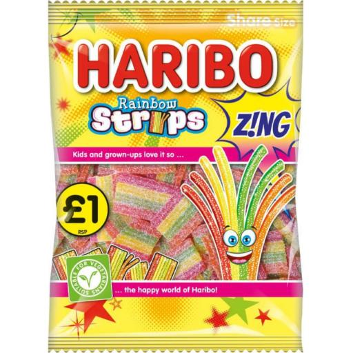 Haribo Zing Rainbow Strips 130g