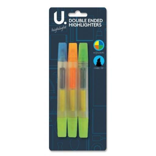 U. Chisel Tip Double-Ended Highlighter Pens - Pack of 3
