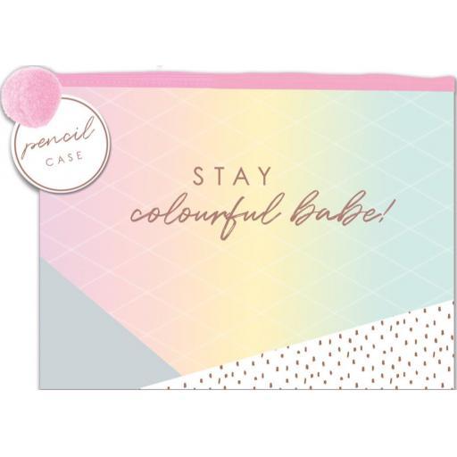 IGD 'Stay Colourful' Fashion Pencil Case