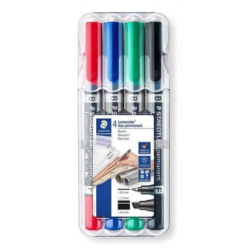 Staedtler Lumocolor Duo Chisel Tip Marker - Assorted, Pack of 4