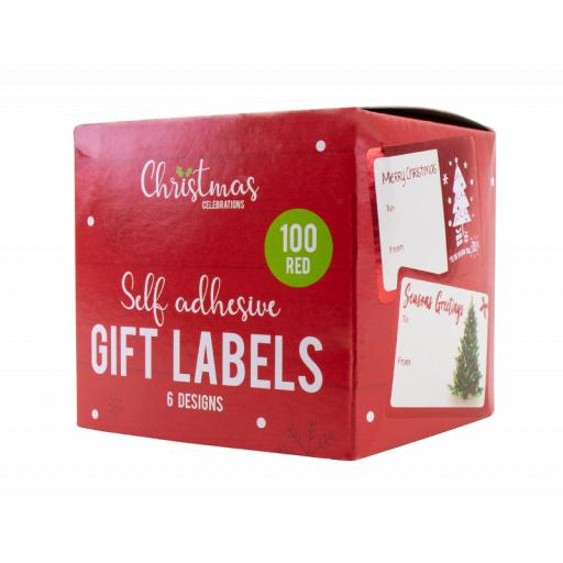 Gem Self-Adhesive Christmas Gift Labels, Box of 100 - Assorted Colours
