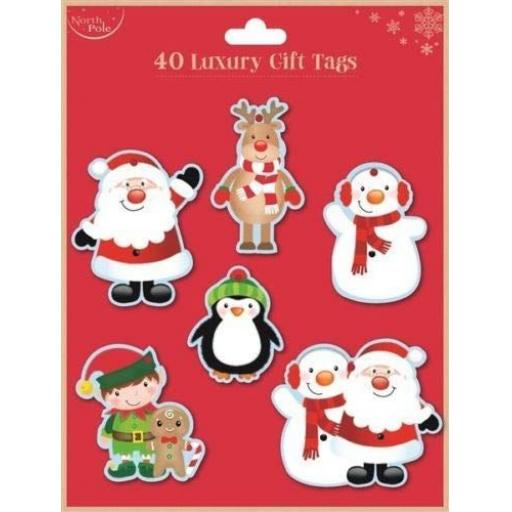 North Pole Luxury Cute Gift Tags - Pack of 40