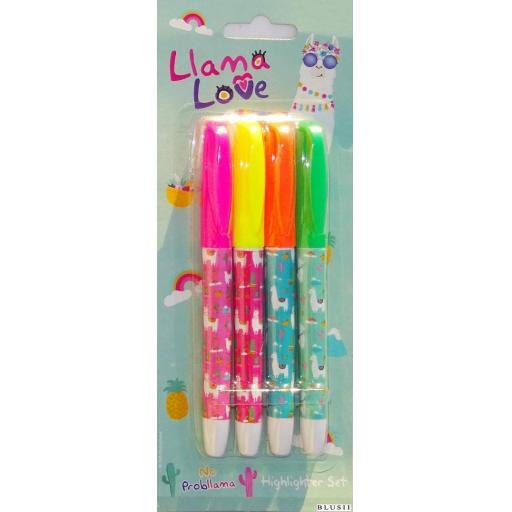 PMS Llama Love Highlighter Pens - Pack of 4