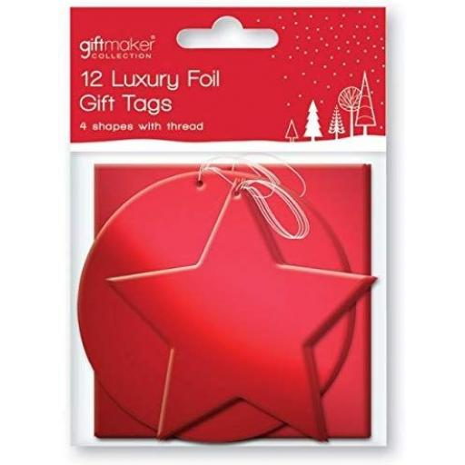 IGD Giftmaker Collection Luxury Foil Gift Tags, Red - Pack of 12
