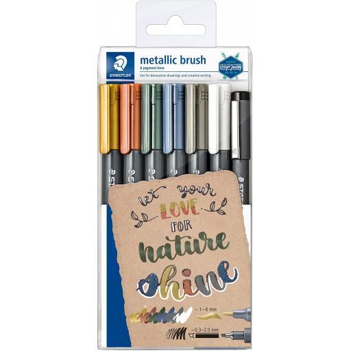 Staedtler Metallic Brush & Pigment liner - Pack of 7