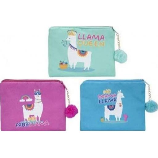 PMS Llama Loves Medium Purse with PomPom - Assorted Colours