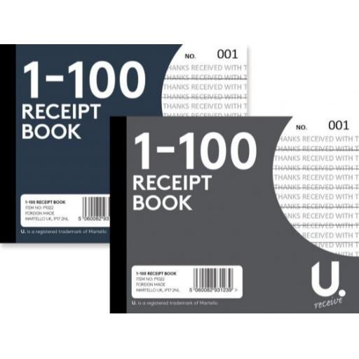 U. Half Size Receipt Book 1-100