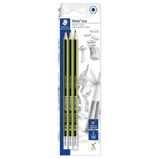 Staedtler Eco Pencils, Eraser Tip - Pack of 3