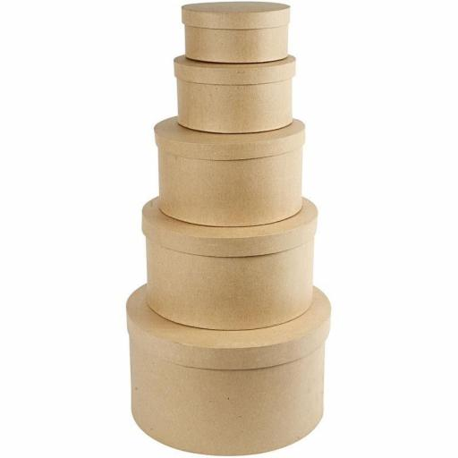 Creativ Paper Mache Large Round Hat Boxes - Pack of 5