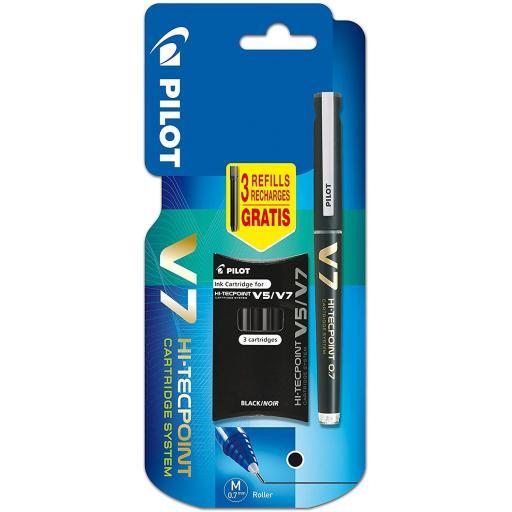 Pilot V7 Refillable Liquid Ink Rollerball + 3 Refills - Black