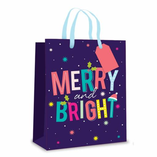 Tallon Christmas Gift Bag, Merry & Bright Large Size - Pack of 12