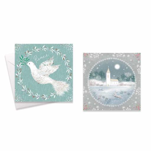 Festive Wonderland Square Christmas Cards, Dove/Grey Church - Box of 10