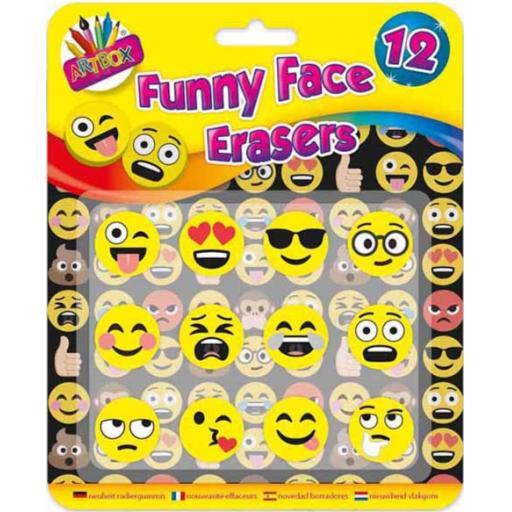 Artbox Funny Face Emoji Erasers - Pack of 12
