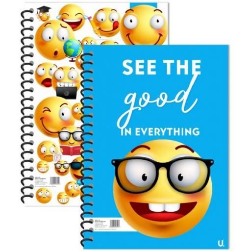 Squiggle Emoji A5 Spiral Notebook - Assorted