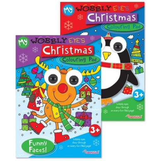Squiggle Wobbly Eyes Christmas Colouring Pad - Assorted Designs