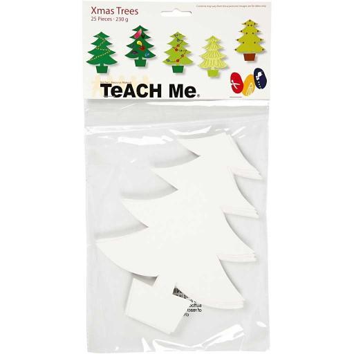 Creativ Company 'Teach Me' Cardboard Shapes, Xmas Trees - Pack of 25