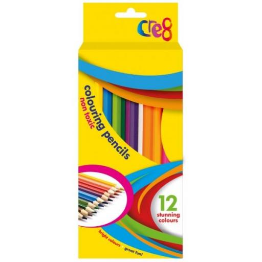 Cre8 Non-Toxic Colouring Pencils, Asst Colours - Pack of 12