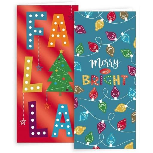 IGD Christmas Cards Slim Fa La La Assorted Design - Box of 10