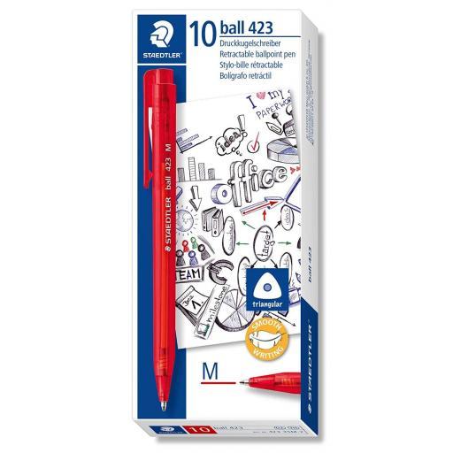 Staedtler Retractable Ballpoint Pen Medium - Red, Pack of 10