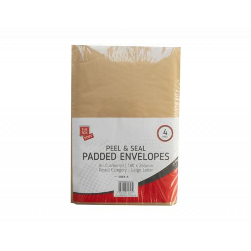 The Box Peal & Seal Padded Envelopes, 180x265mm - Pack of 4