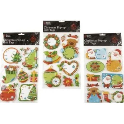 PMS Snow White Pop Up Christmas Tags - Pack of 6