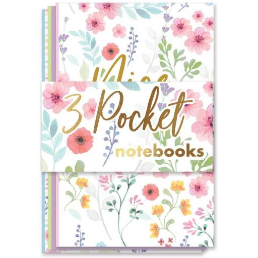 IGD Pocket Size Floral Notebooks - Pack of 3