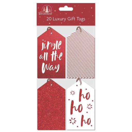 Festive Wonderland Luxury Gift Tags, Red & White - Pack of 20