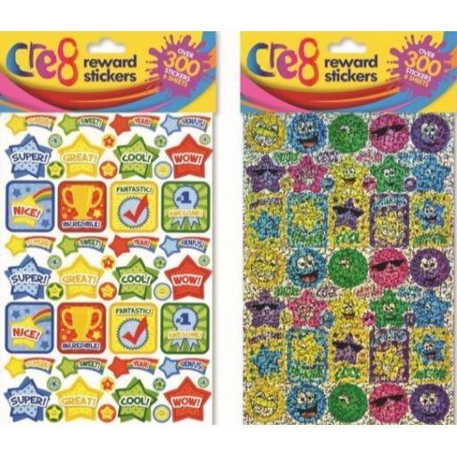 Cre8 Assorted Reward Stickers Faces & Trophies - Over 300 Stickers