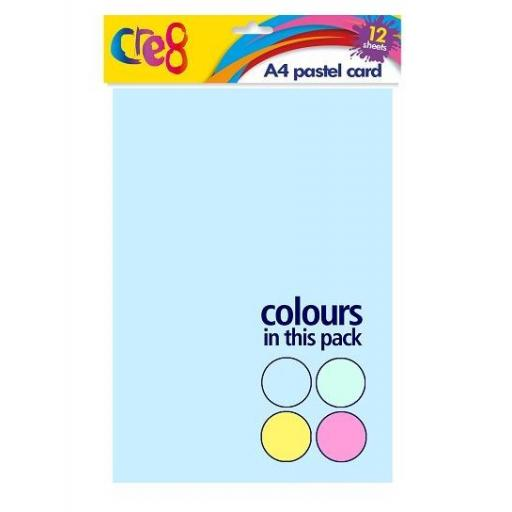Cre8 A4 Pastel Coloured Card - 12 Sheets