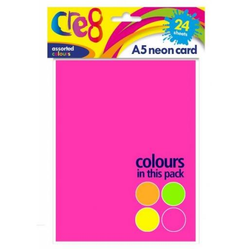 Cre8 - A5 Neon Card, Assorted Colours, Pack of 24