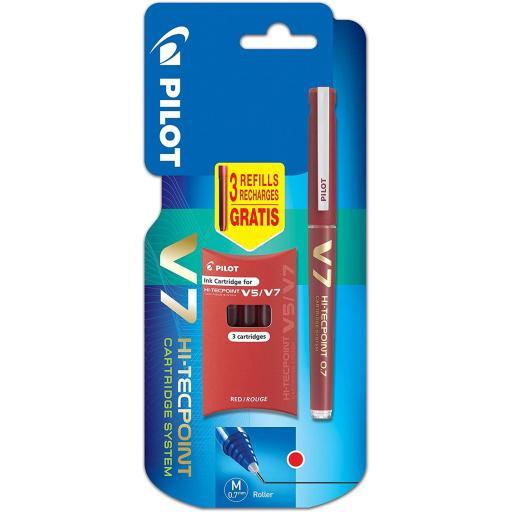 Pilot V7 Refillable Liquid Ink Rollerball + 3 Refills - Red