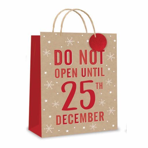 Tallon Christmas Gift Bag, Kraft 'Do Not Open' Large Size - Pack of 12