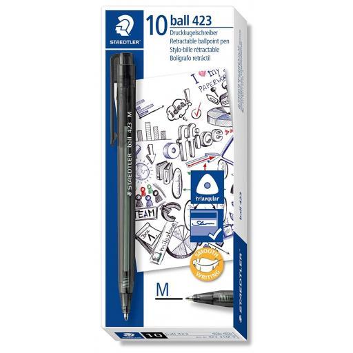 Staedtler Retractable Ballpoint Pen Medium - Black, Pack of 10