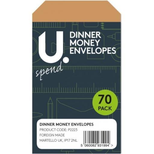 U. Dinner Money Envelopes - Pack of 70