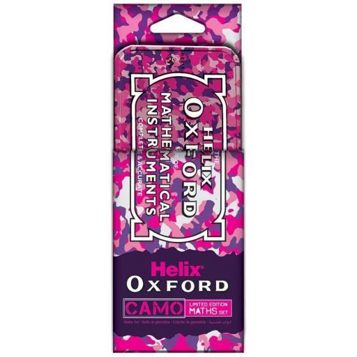 Helix Oxford Camo Maths Set Tin - Pink
