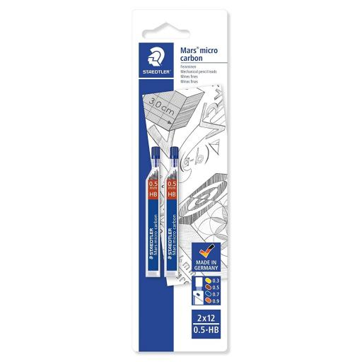 Staedtler Mars Micro Carbon 0.5mm HB - Pack of 2 (24 Leads)